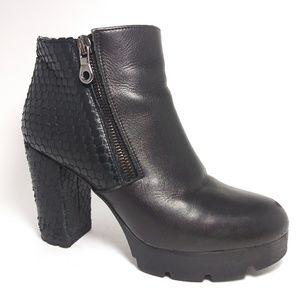 Prima Moda Black Leather Chunky Heel Boots Size 37